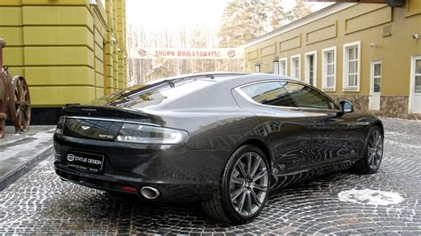 download wallpaper 1920x1080 aston martin rapide 2011 black side view cars building full hd