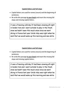 capital letters and full stops worksheet free esl