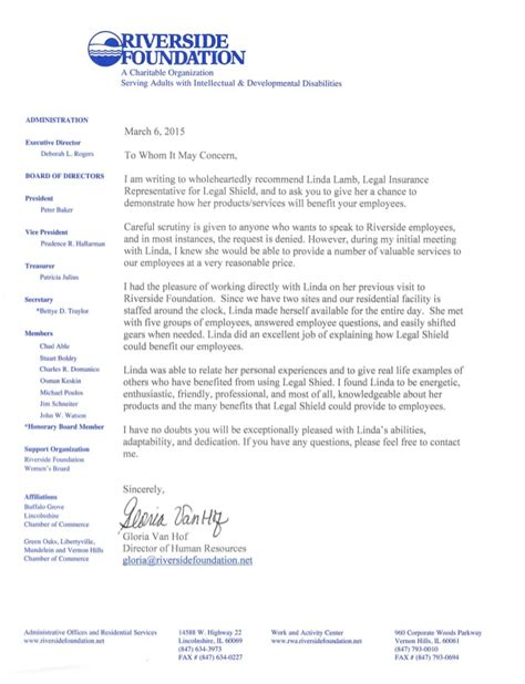 Recommendation Letter Vice President Letter Of Recommendation From Riverside Foundation