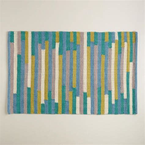Blue And Green Outdoor Rug 2 X3 Blue And Green Stripe Reversible Indoor Outdoor Rug World Market