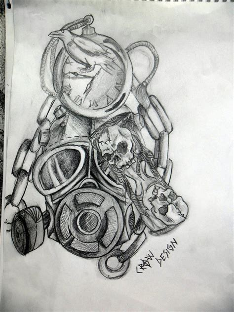 tattoo design deviantart gas mask and time tattoo design by zacrow on deviantart
