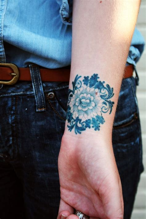 little blues tattoos delft blue temporary floral temporary