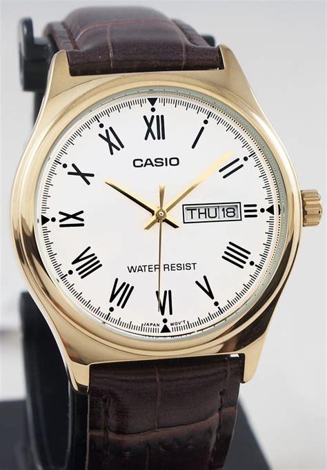 casio mtp vgl  mens analog gold tone  brown