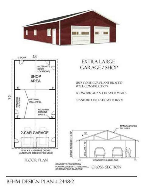 large garage plans extra large 2 car garage shop plan 2448 2 34 x 72 by