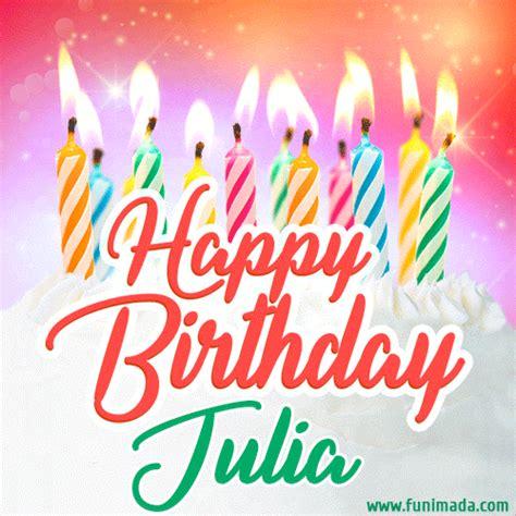 happy birthday gif  julia  birthday cake  lit candles   funimadacom