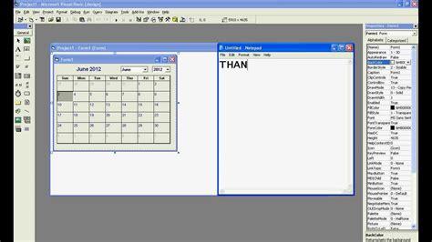 design calendar in vb net making a calender in vb 6 0 avi youtube