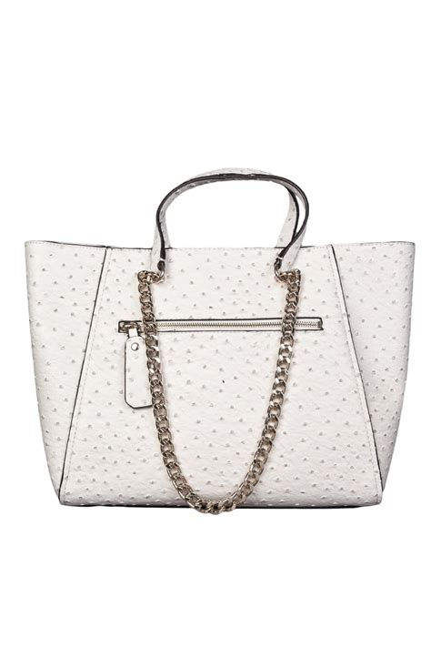 Other Designers Guess The With The Bag by Guess Ostrich Skin Design Tote Bag In White And Royal Blue