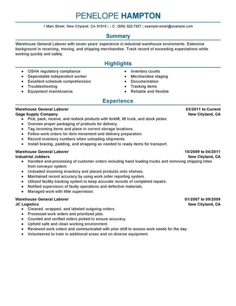 Resume Exles For General Employment Best General Labor Resume Exle Livecareer