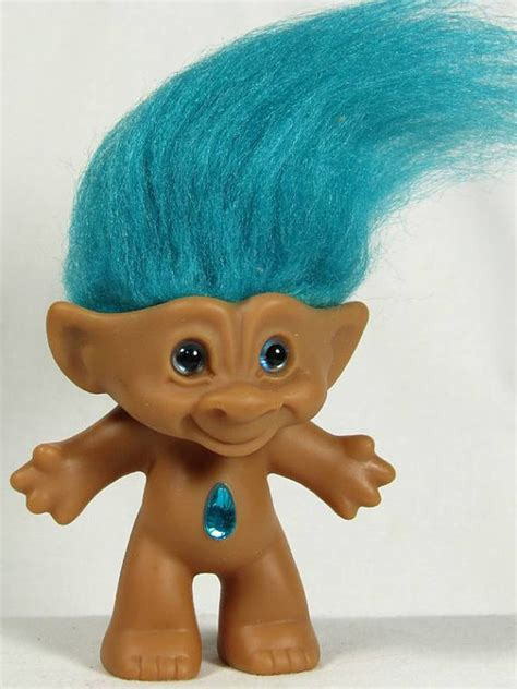 ace novelty troll doll 3 1 2 tall turquoise hair and