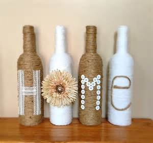twine wrapped wine bottles rustic home decor by