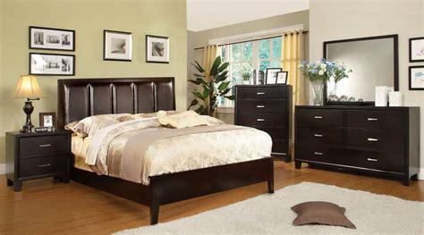 chester contemporary espresso bedroom set  leatherette headboard cm