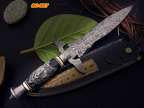 feather pattern chef s knife 14 quot damascus steel dagger knife rose wood damascus outlet