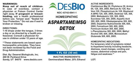 Aspartame Detox Naturally by Dailymed Aspartame Msg Detox Chelidonium Majus