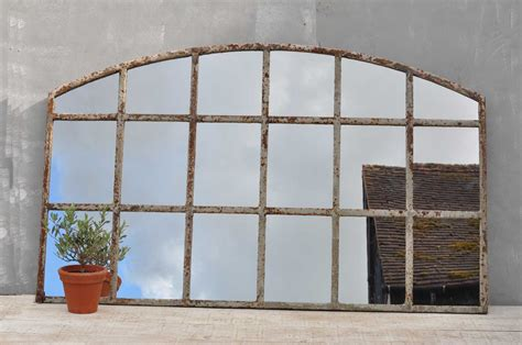 Industrial warehouse large cast iron arched window mirror home barn vintage