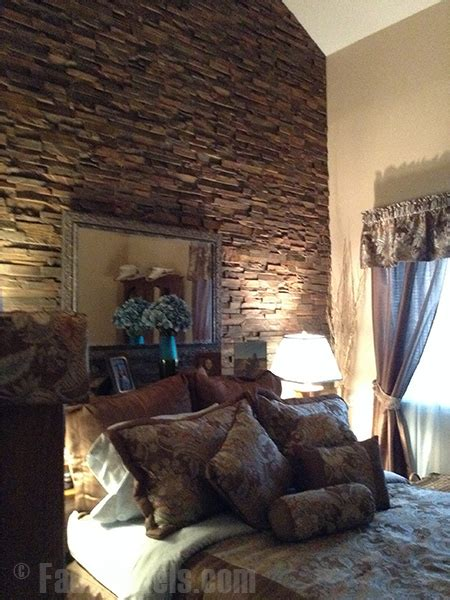 stone wall in bedroom bedroom remodel with stacked stone wall creative faux panels