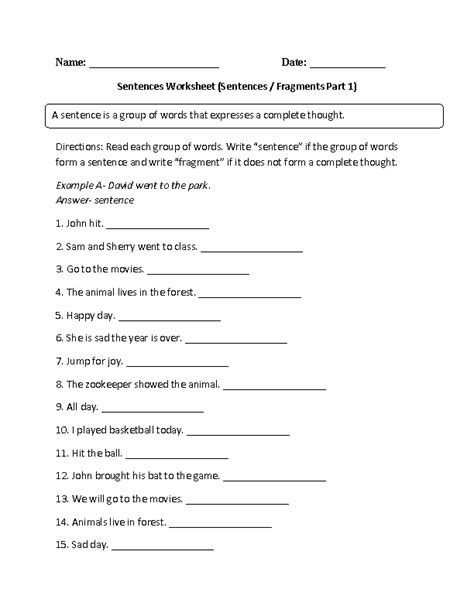 6th Grade Sentence Structure Worksheets by 17 Best Images Of Simple Sentence Worksheets 6th Grade