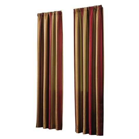 lowes drapes shop allen roth alison 95 in l stripe red rod pocket