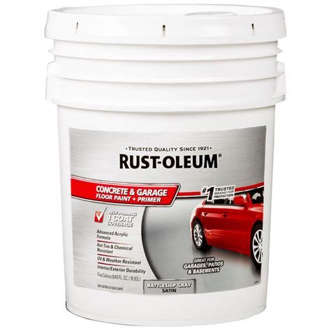 Garage Floor Paint 5 Gallon Rust Oleum 5 Gal Battleship Gray Concrete Floor Paint