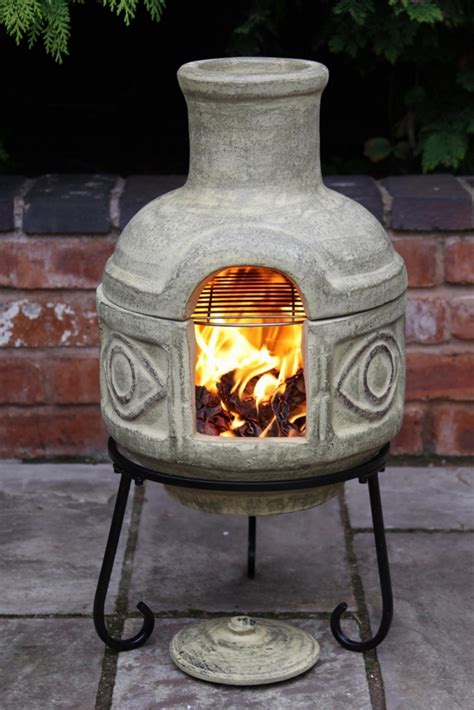 Clay Chiminea With Iron Stand Chiminea Patio Fireplace Ideas To Stay Warm In The Outside