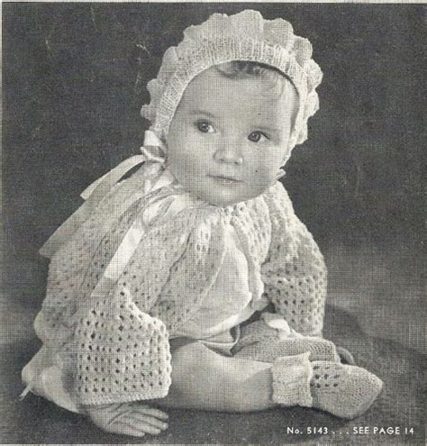 vintage knitting pattern baby bonnet 40s baby sacque hat shoes vintage knitting pattern pdf