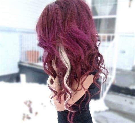 cute burgundy highlights burgundy hair blonde highlights hair pinterest hair