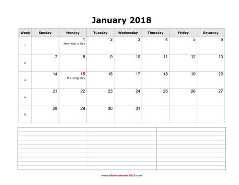 printable calendar 2018 with notes blank calendar 2018