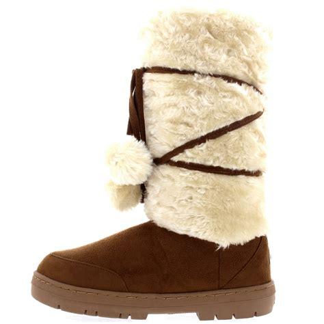 womens pom pom tall rain fur lined snow winter flat warm