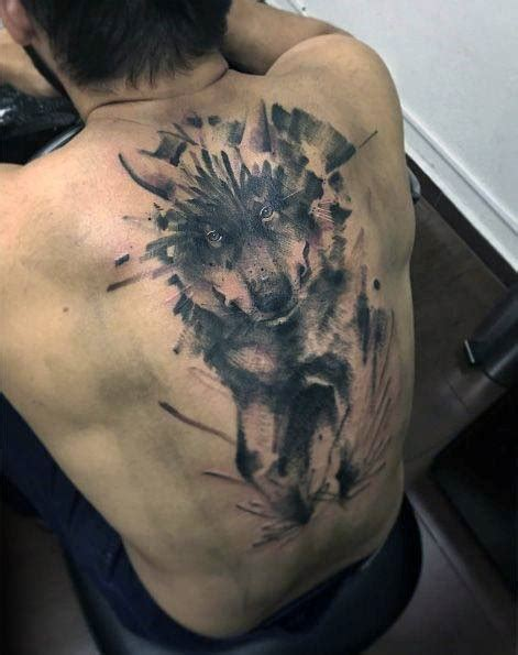 tattoo back wolf 50 wolf watercolor tattoo designs for men cool ink ideas