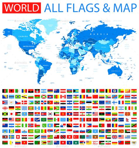 all flags map all flags and world map by dikobrazik graphicriver
