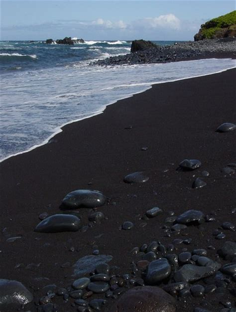 beach with black sand maui hawaii black sand beach