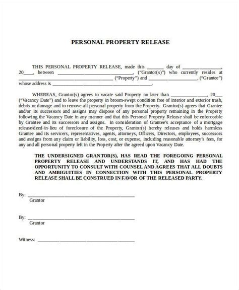 Personal Property Record Sle Release Forms In Doc
