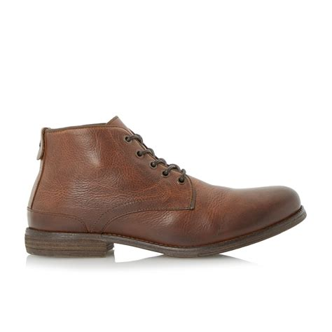 bertie curfew leather ankle boots in brown for lyst