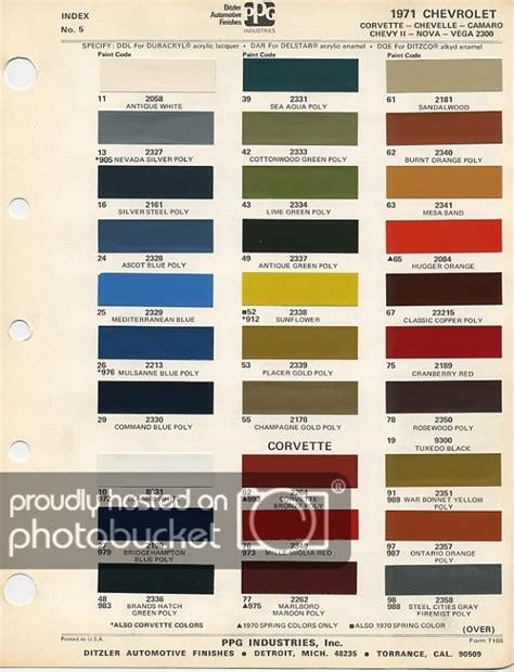 looking for paint code on 63 corvetteforum chevrolet 1971 color code info needed chevy forum