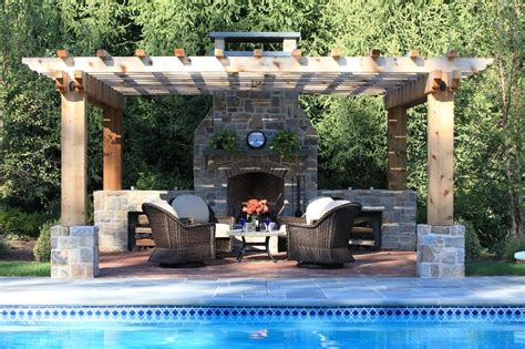 Pool Pergola Patio And A Fireplace Outdoor Fireplaces Backyard Pool And Patio