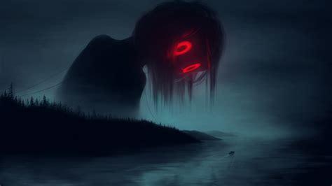 wallpaper red eyes mist boat   lieske artwork