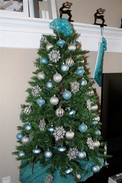 christmas trees tourquoise and silver turquoise and silver tree design view