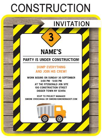 Construction Party Invitations Template Birthday Party Construction Themed Birthday Invitation Templates