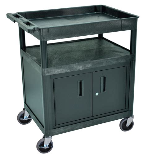Three Shelf Cart by Luxor Tc122c B Three Shelf Utility Cart
