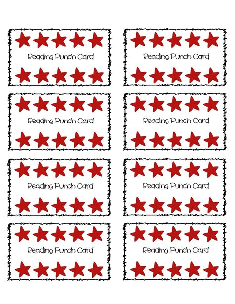 punch card templates for students reading incentive punch card part of a set of 8 different