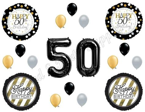 fifty happy birthday party balloons decoration