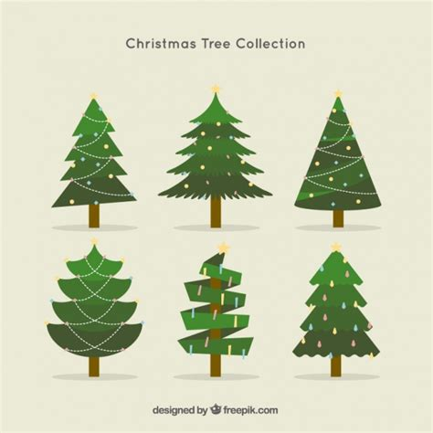 christmas tree collection in flat design vector free
