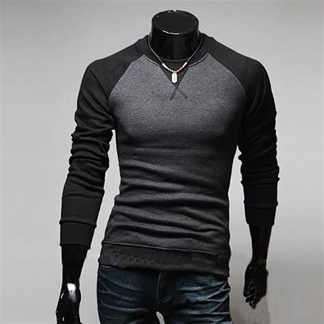 mens fashion slim fit casual crew neck sleeves t