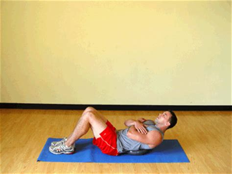 abdominal crunches on balance board exercise demonstration sparkpeople
