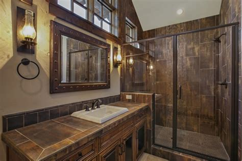 lodge bathroom grand contemporary rustic craftsman home design and floorplan