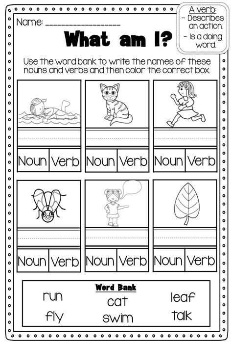 Noun And Verb Worksheets by 25 Best Ideas About Nouns Kindergarten On