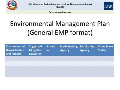 construction environmental management plan template business plan preparation and environmental management himali