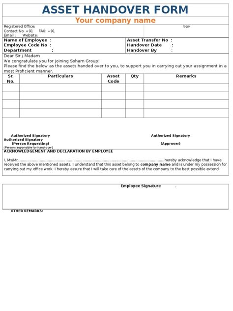 employee handover document template company asset handover form