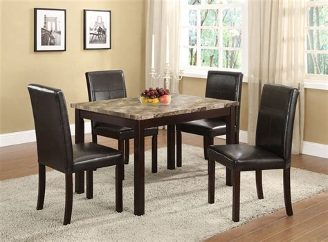5 pc set faux marble with espresso finish dining room
