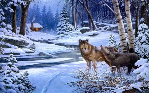 Poster 3d Jumbo Fauna Kuda 3dj 09 Size 78 5 X 58 5 Cm wolves wolf paintings landscapes winter snow rivers cabin houses rustic trees forest woods