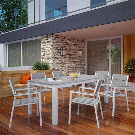 maine  piece outdoor patio dining set  white gray